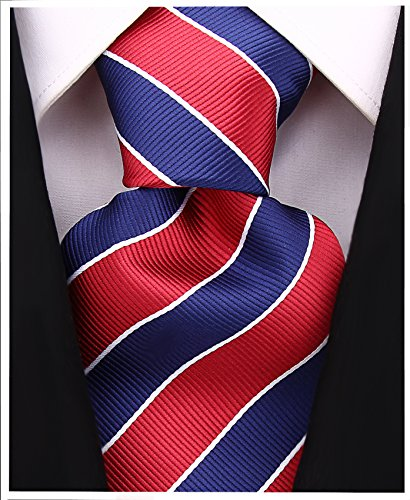 Blue Stripe Necktie (College Striped Ties for Men - Woven Necktie - Navy Blue w/Burgundy)
