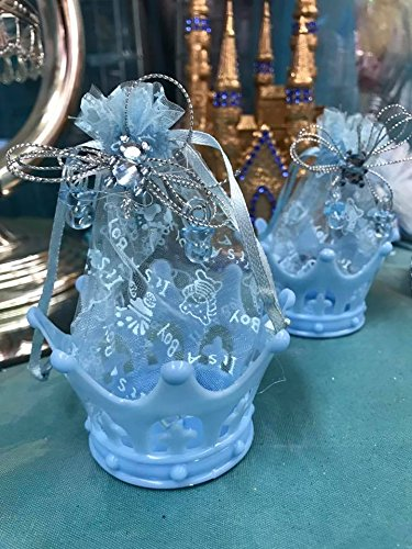 Baby Shower Blue Fillable Crown Favors Decorations Keepsake 10 Ct (Prince Keepsake Little)