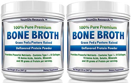Bone Broth Protein Powder from Grass Fed Beef - 20oz - High in Collagen and Gelatin - Paleo and Keto Friendly - Unflavored (2 Pack)