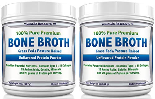 Bone Broth Protein Powder from Grass Fed Beef – 20oz – High in Collagen Gelatin – Paleo Keto Friendly – Unflavored 2 Pack