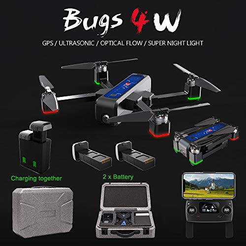 MJX Bugs 4W Foldable Drone with GPS, Full HD 2K 5G WiFi Camera Record Video Bugs GO App Altitude Hold Track Flight 3400mAh Battery Double Charging OLED Screen Remote Control (MJX B4W + Foam Box)