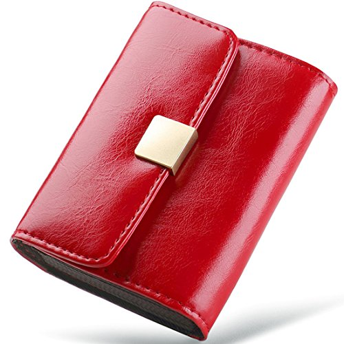 Huztencor Small Credit Card Holder Wallet RFID Blocking Womens Designer Bifold Leather Ladies Mini Purse Multi Card Case Compact Wallets for Women Cute Little ID Cases Organizer Oil Wax Red