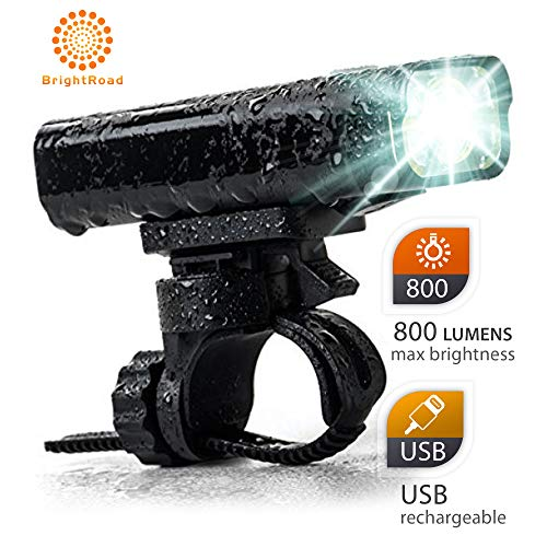BrightRoad Rechargeable 800 Lumens Bike Light Front and Back Bicycle Lights USB Headlight & Tail Lights IPX6 Waterproof for Cycling - Strong Led Flashlights Increase Visibility Safety Rear Light