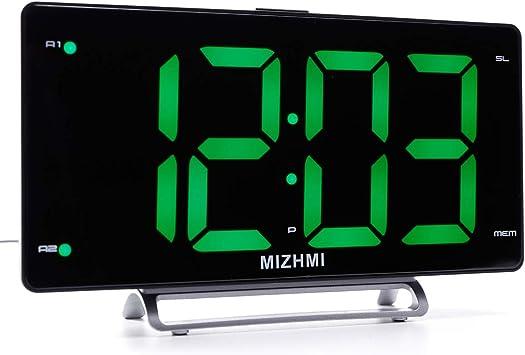 Radio despertador digital con pantalla LED de 3 pulgadas y números ...