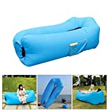 Inflatable Lounger Air Sofa+Storage Bag- Blow Up Beach Loungers No Pump Required Just Inflates with Wind - Portable Outdoor Furniture for Travel Pool Camping