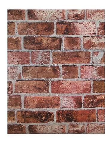 York Wallcoverings HE1044 Modern Rustic Brick Wallpaper (Fireplace Wallpaper)