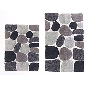 cotton craft 2 piece bath rug set pebbles stones with spray latex back grey multi 100 pure cotton and absorbent super soft and plush hand
