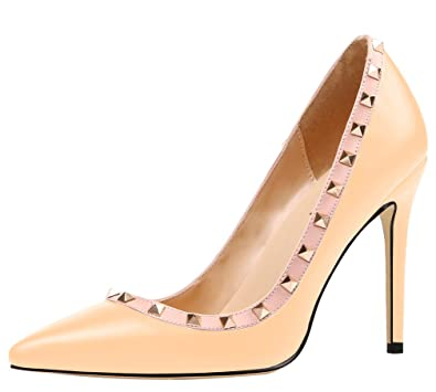 91145c8b39fa8a AOOAR Damen Übergröße High Heels mit Nieten Pumps  Amazon.de  Schuhe ...