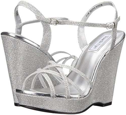 Touch Ups Women's Jaden Wedge Sandal, Silver, 9 M US