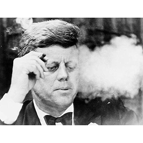 Wee Blue Coo Vintage B&W JFK Kennedy Portrait Smoking Cigar Unframed Wall Art Print Poster Home Decor -