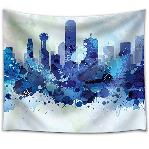YGUIRRI Vibrant Blue Splattered Paint on The City of Dallas, Texas Tapestry Wall Hanging for Dorm Livng Room Home Decor Tablecloth Curtains 51x60 inches ()