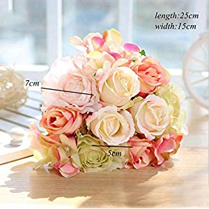 12Pcs Artificial Rose Bouquet Decorative Silk Flowers Bride Bouquets for Wedding Home Party Decoration Wedding Supplies 12pcs Beige 5