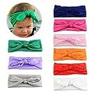 Itaar Baby Girl's Mix Color Elastic Rabbit Ear Headwrap Bow Hairband DIY Headband 9Pcs