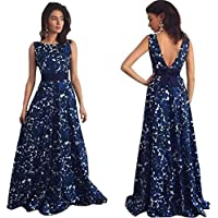 haoricu Women Dress, Sexy Women Floral Long Backless Formal Party Wedding Dress