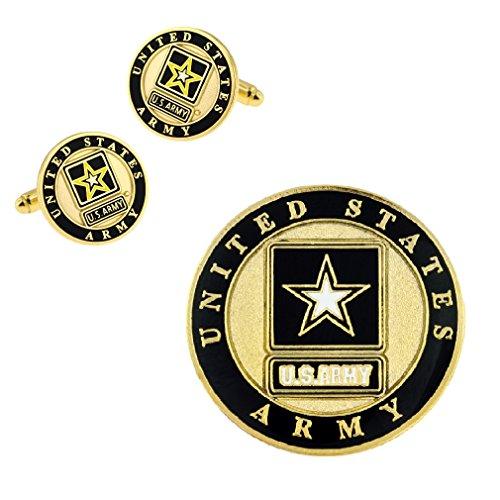 PinMart Gold US Army Logo Enamel Lapel Pin & Cufflink Military 2 Pc Bundle