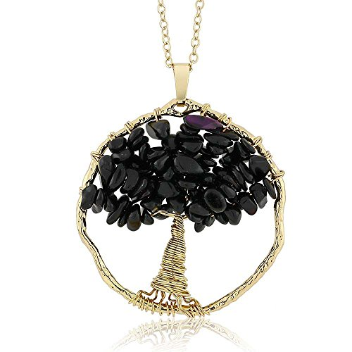 - Gem Stone King Beautiful Black Onyx Chips Tree of Life Necklace Pendant On 24inches Chain