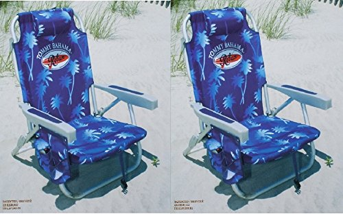 2 Tommy Bahama 2015 Backpack Cooler Chairs with Storage Pouch and Towel Bar- blue
