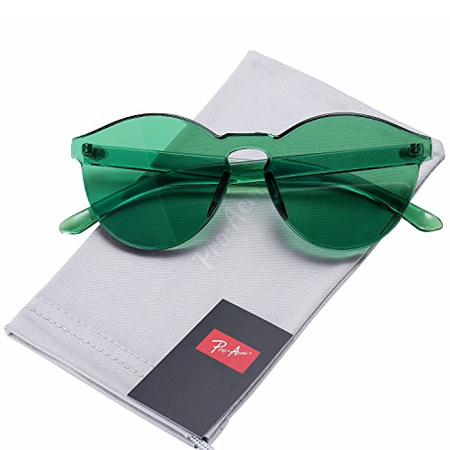Pro Acme One Piece Design Rimless Sunglasses Ultra-Bold Colorful Mono Block - Glasses Green