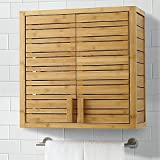 Wall-mounted, Two Adjustable Interior Shelves Bamboo Bathroom Wall Cabinet in Warm Natural Finish