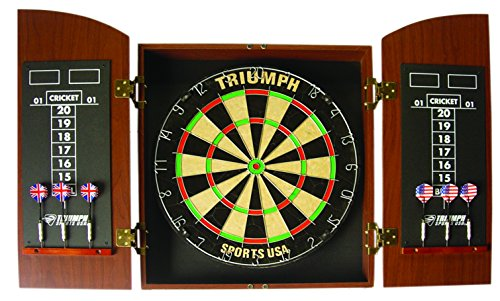 Triumph Sports Round Top Bristle Dartboard Wood Cabinet Set ()