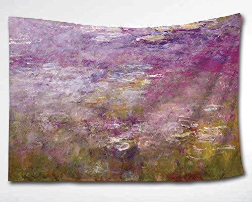 HWMR Monet Water Lily Arts Oil Painting Wall Decor Art Abstract Water Lilies Monet Tapestry Wall Hanging Purple Wall Collage Dorm Beach Bedroom Throw Tapestries 60x51 Inch