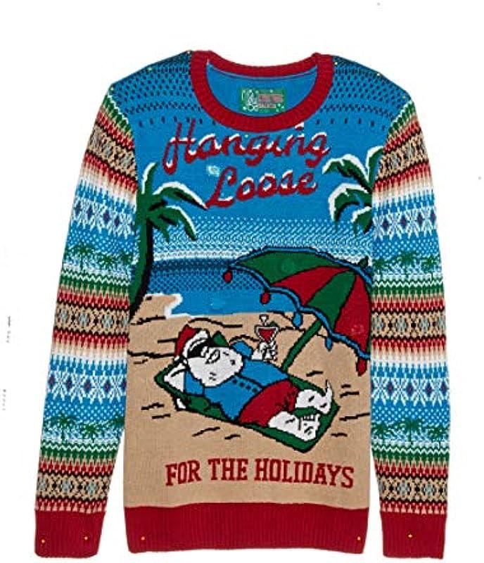 Ugly Christmas Sweater Company Męskie Ugly Christmas Sweater-Light-up Hanging Loose Pullover: Odzież