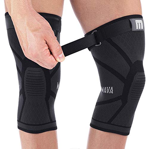 Mava Knee Sleeve – Knee Support with Adjustable Strap -Does NOT ROLL Down- Compression Knee Brace for Men & Women -Weightlifting, Running, Workout, ACL – Pain Relief – Check Sizing Chart – Pair
