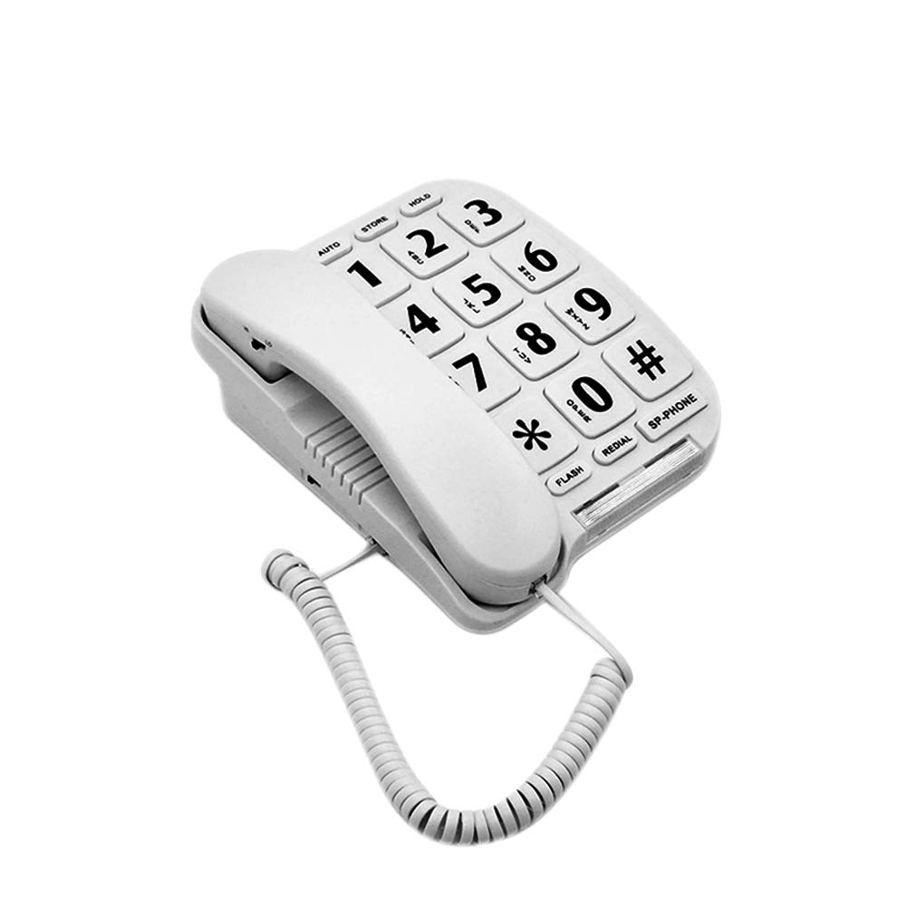 HePesTer P-011 Large Button Corded Phone for Elderly with Amplified Speakerphone Works in Power Outage for SOS Emergency