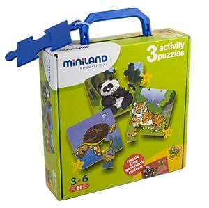 Miniland - Set de 3 puzzles, modelo 2 (36021)