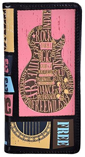 Shag Wear Women's Fashion Large Zipper Wallet Rock Music Festival Black