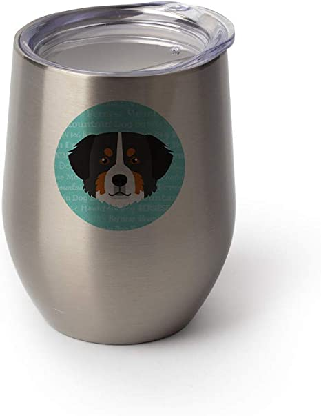 Mystic Sloth Adorable Dog Breed Design 12oz Stainless Steel Stemless Wine Glass With Lid Bernese Mountain Dog Silver Wine Glasses