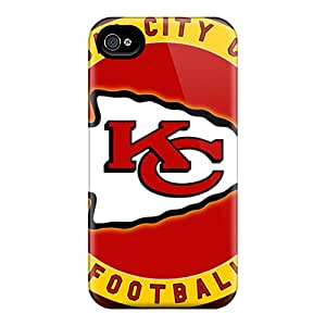 Protector Hard Phone Cover For Iphone 4/4s With Support Your Personal Customized Lifelike Kansas City Chiefs Skin InesWeldon