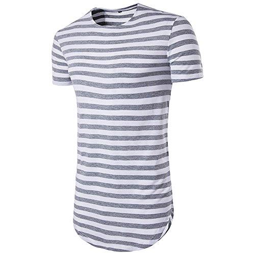 NiuZi Men's Retro Black & White Striped Hipster Hip Hop Ripped T Shirt Short/Long Sleeve Round Hemline Causal T-Shirt (Light Grey, XL) (Hipster Striped)