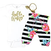 Girls Baby Take Home Outfit Black and White Striped Pants Baby Girl Coming Home Set Hello World, Black, 0-3 Long Sleeve