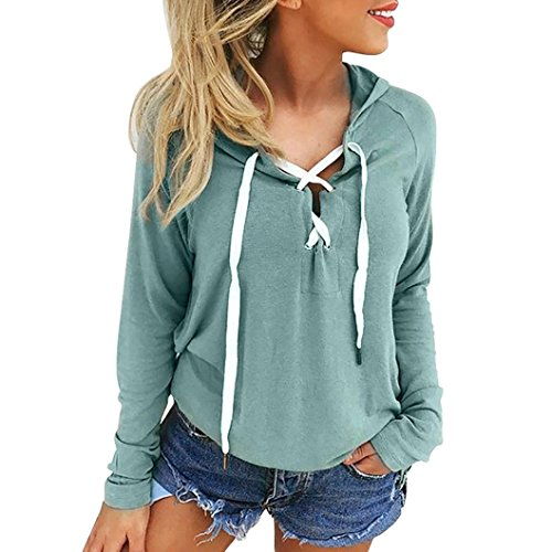 TLoowy™ Women Teen Girls 2017 V Neck Lace up Long Sleeve Hoodies Sweatshirt Pullover Loose Shirt Top (M, Green)