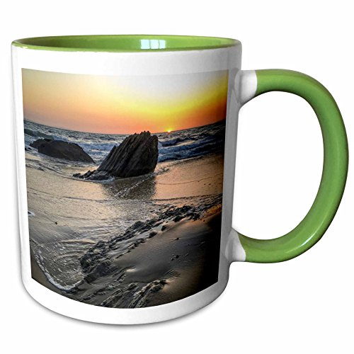 3dRose Boehm Photography Landscape - Crystal Cove Beach Sunset - 11oz Two-Tone Green Mug (mug_282329_7)