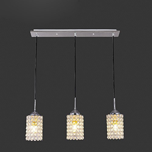DINGGU™Chrome Finish Round Metal Shade Crystal Chandelier Hanging Pendant Ceiling Lamp Fixture Chandeliers Light Brackets