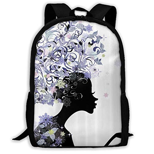 (UYILP Black Flower Women Adult Premium Travel Backpack, Water-Resistant Big Business College School Bookbag Daypack,Rucksack, Laptop Bag for Men&Women)