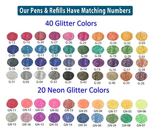 My Color Store 120 Glitter Gel Pens Set, 60 Glitter Pens + 60 Refills, Fold-able Case + Gift Box by My Color Store (Image #4)