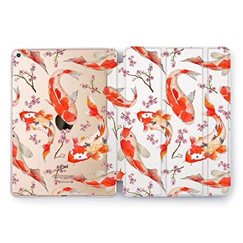 Wonder Wild Coy Fishes Japan Kawaii New iPad Case 9.7 inch Mini 1 2 3 4 Air 2 10.5 12.9 2018 2017 Print Cover 4th 5th 6th Generation Design Smart Stand Clear Animal Traditional Water Pattern -