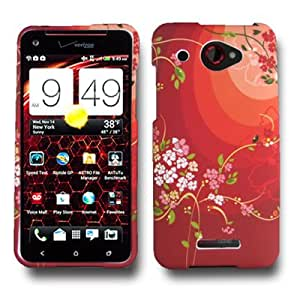 CoverON RED Hard Cover Case with WHITE FLOWER BLOSSOM Design for HTC 6435 DROID DNA VERIZON With PRY- Triangle Case Removal Tool [WCF119]