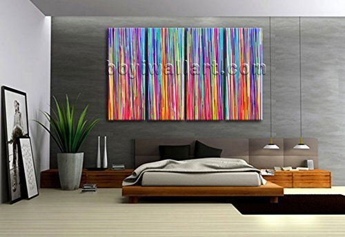 Amazon.com: Extra Large Multicolored Striped Abstract Contemporary ...