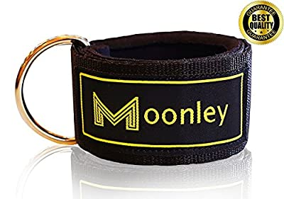 PRO ANKLE STRAP BAND FOR CABLE MACHINE - Black Foot Cuffs, Resistant Padding Ankles Leg Straps for Weightlifting Gym Attachment.Fitness Workout Glute Kickback Equipment, Men &Women by MOONLEY