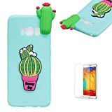 For Samsung Galaxy S8 Case,Funyye Lovely Cute 3D ornament pattern Candy Colour [Green] Slim Soft Silicone Gel TPU Back Shockproof Non slip Protective Case for Samsung Galaxy S8 - cactus