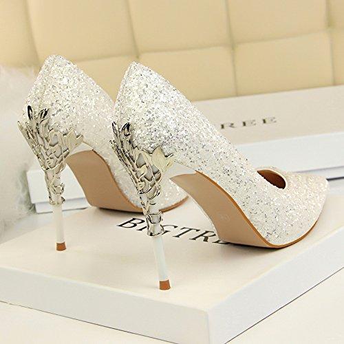 Qiqi femmina Xue con gradiente nozze scarpe Cuoio argento Bianco alta scarpe tacco scarpe d'oro ammenda punta di singolo 7dfdrw6qB