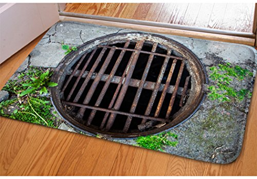Stylish Manhole Covers Heart Print Doormat Home Balcony Sliding Door Entrance Mat Non-Slip Soft Flannel Surface Bedroom Porch Entryway Indoor Door Mat Rectangle Flat Small Area Rug (Manhole Cover Rug)