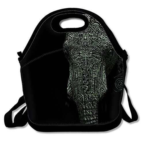 Insulated Lunch Tote Bag Elegant Elephant Reusable - Portable Lunchbox Handbag