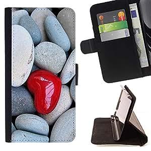 For Motorola Moto E ( 2nd Generation ) Case , El amor del Corazón y piedra- la tarjeta de Crédito Slots PU Funda de cuero Monedero caso cubierta de piel