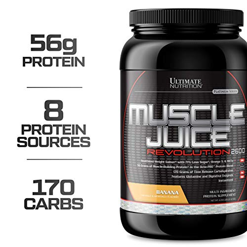 Ultimate Nutrition Muscle Juice Revolution Weight and Muscle Gainer Protein Powder with Egg Protein, Micellar Casein, and Maltodextrin, 4.69 Pounds