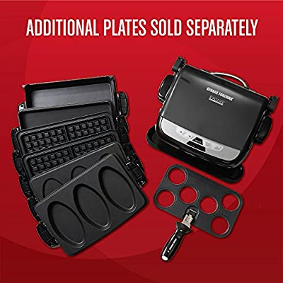 George Foreman GRP4842MB Multi-Plate Evolve Grill, (Ceramic Grilling Plates, and Waffle Plates Included), Black